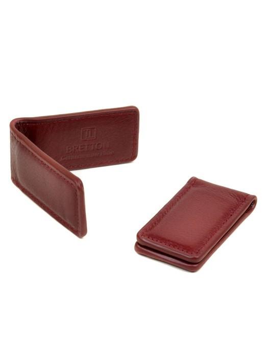 Кошелек Зажим для денег кожа Bretton Clip red-dark