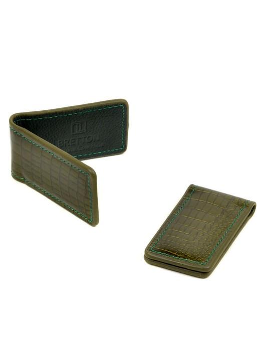 Кошелек Зажим для денег кожа Bretton Clip-Croc green