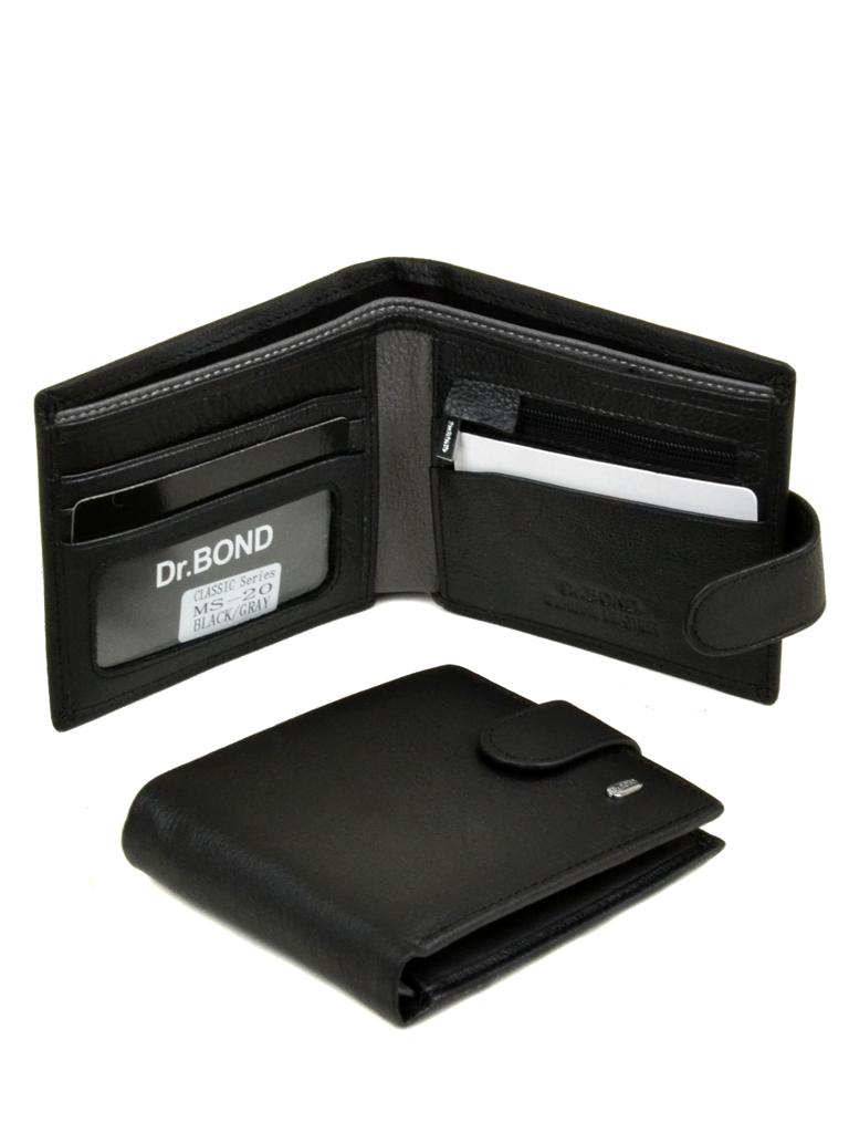 Кошелек Classik-color кожа dr.Bond MS-20 black-grey