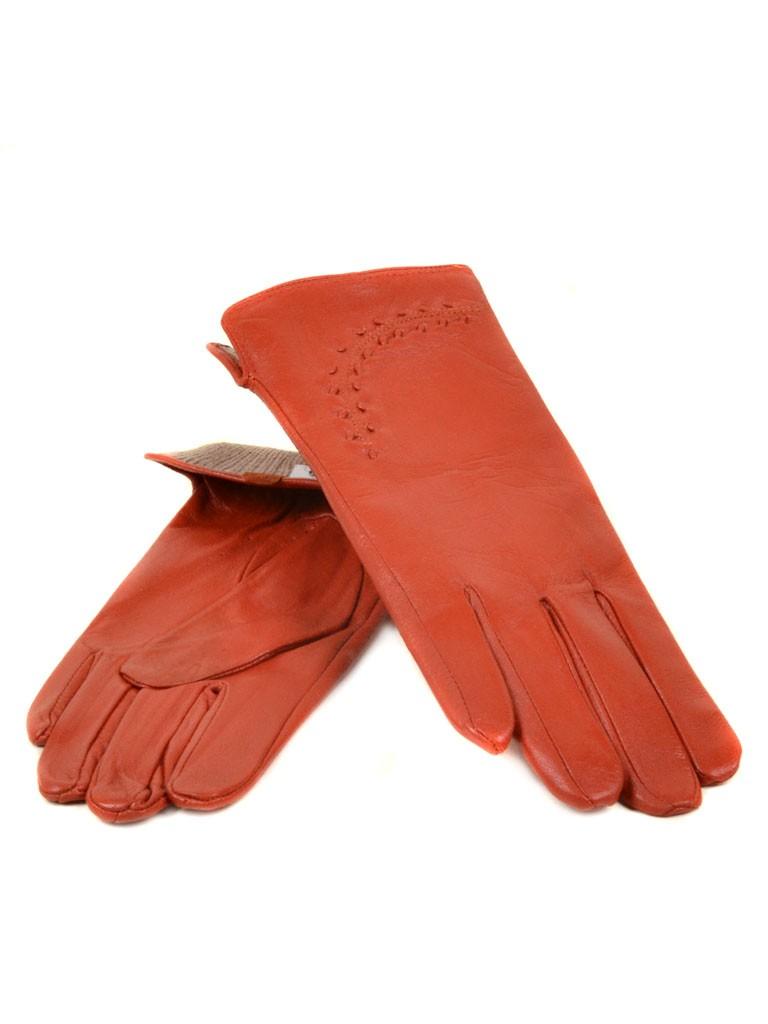 Перчатка Женская кожа МариClassic (Ш) F23 мод1 оранж st2