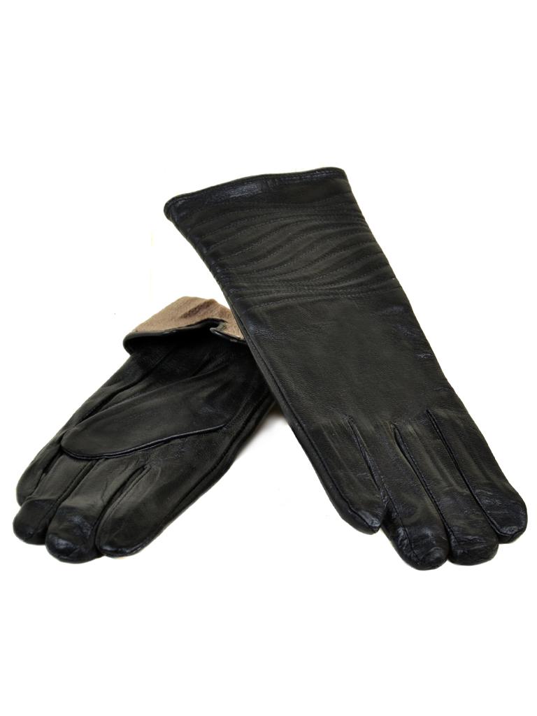 Перчатка Женская кожа МариClassic F24/17 мод13 black шерсть