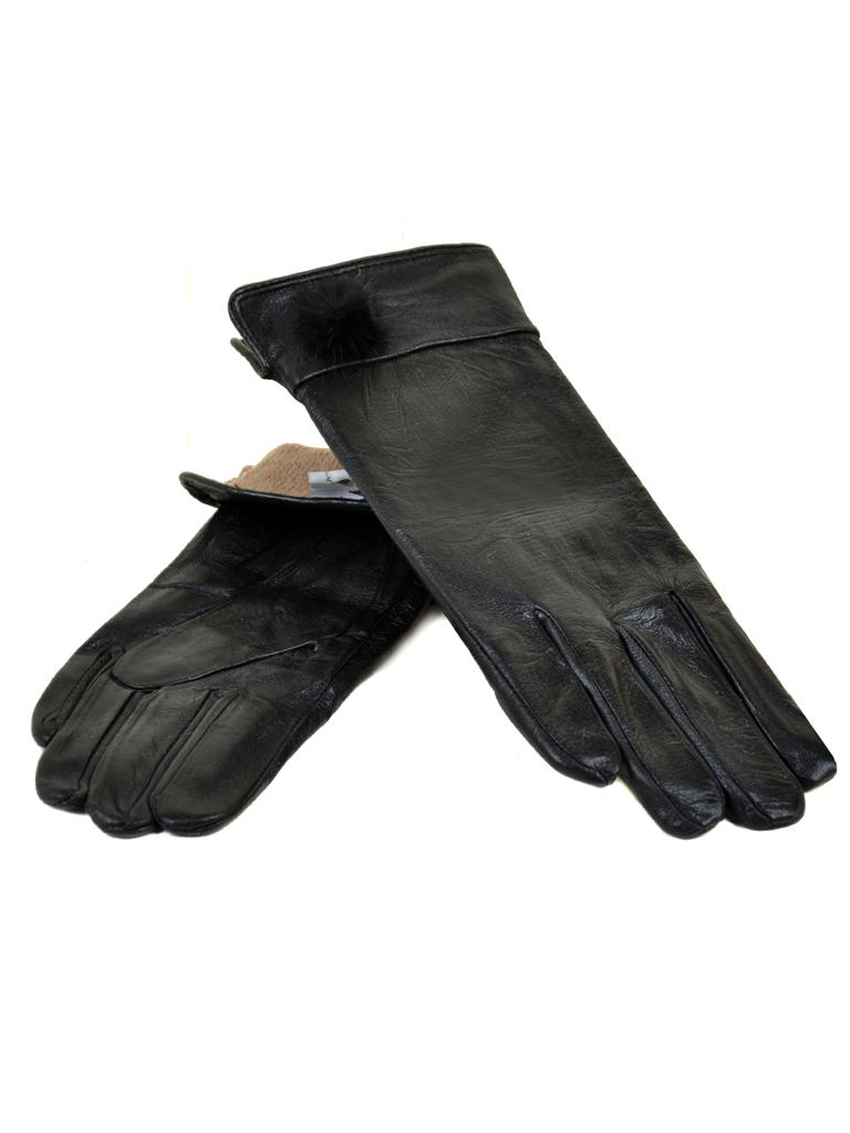 Перчатка Женская кожа МариClassic F24/17 мод4 black шерсть