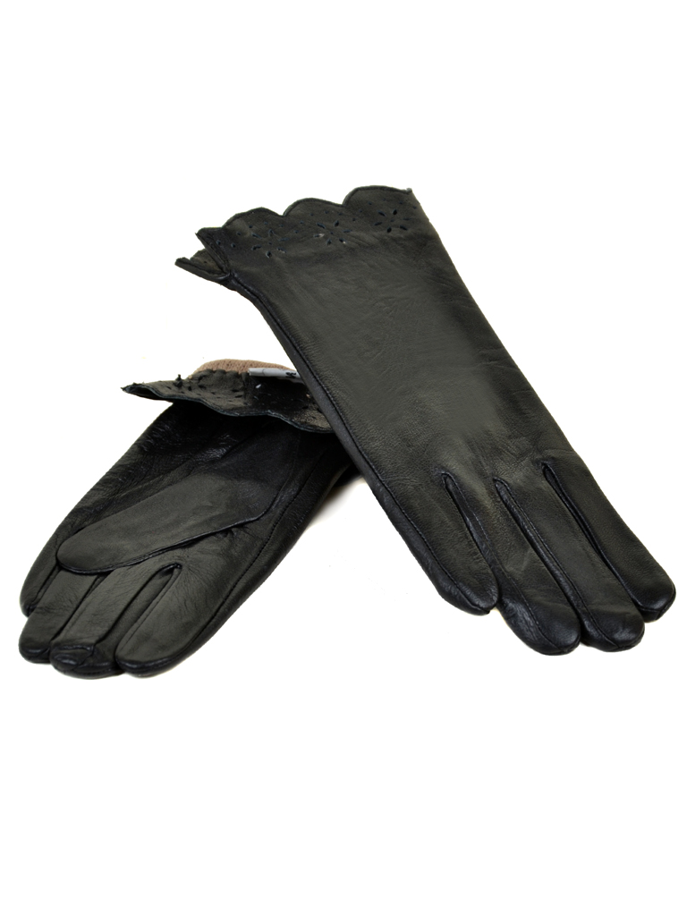 Перчатка Женская кожа МариClassic F24/17 мод5 black шерсть