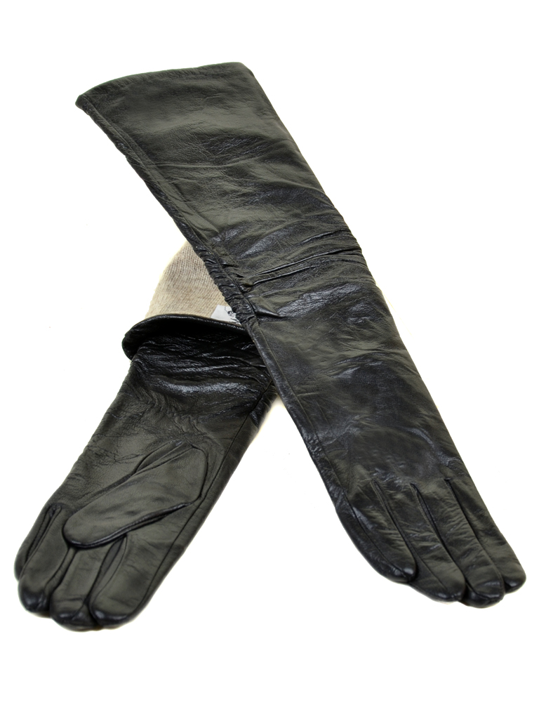 Перчатка Женская кожа МариClassic F25-1/17 50см мод2 black атлас