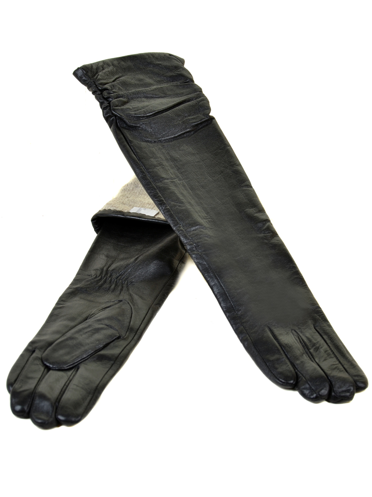 Перчатка Женская кожа МариClassic F25-1/17 50см мод3 black атлас