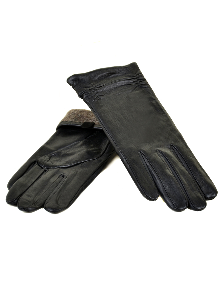 Перчатка Женская кожа МариClassic F31/17 мод8 black шерсть