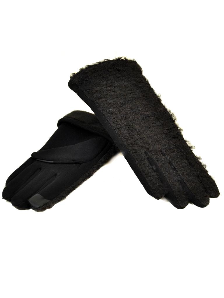Перчатка Женская стрейч МариFashion F20/17-1 тачскрин black плюш