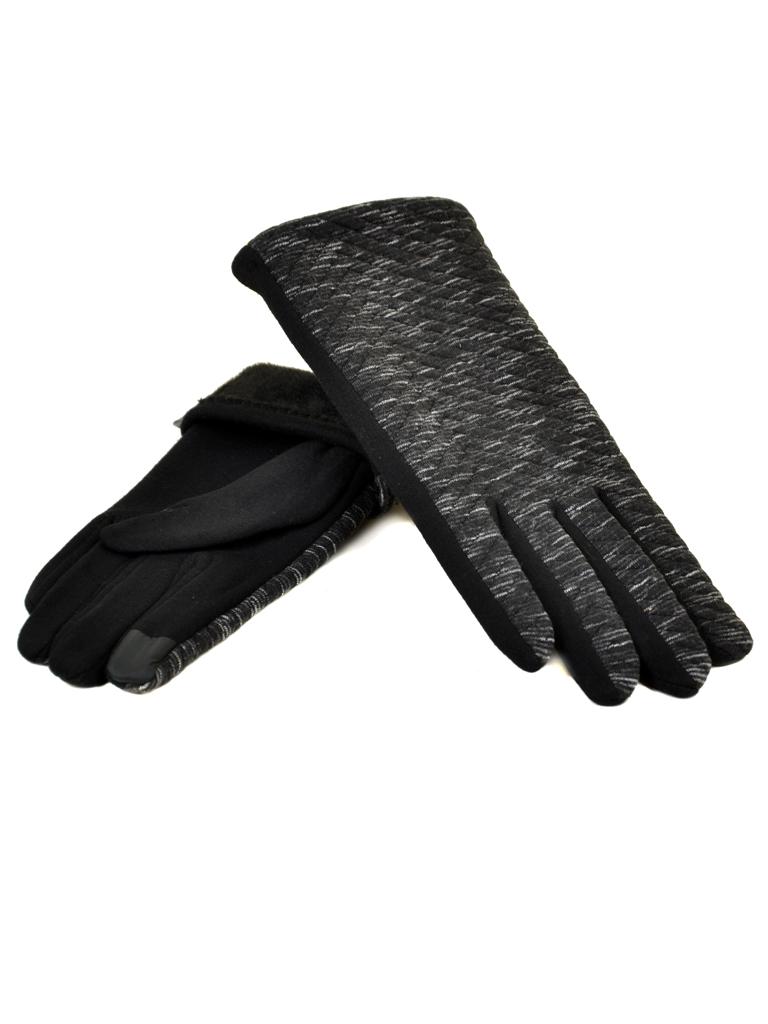 Перчатка Женская стрейч МариFashion F20/17-5 тачскрин black плюш