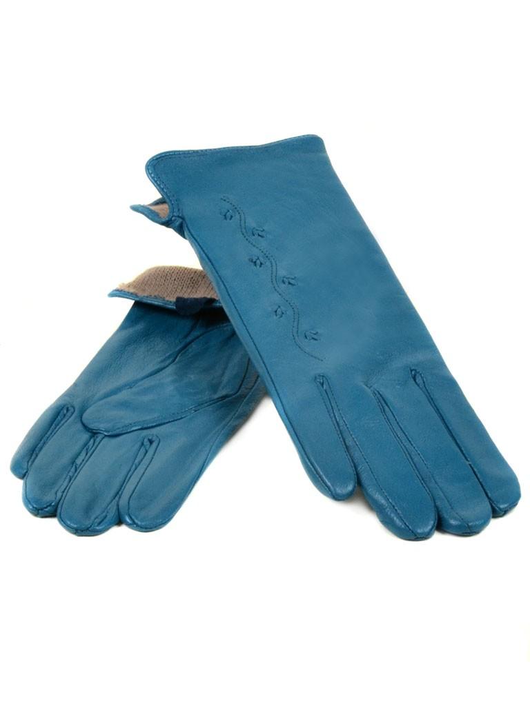 Перчатка Женская кожа МариClassic (Ш) F23 мод6 бирюза st16