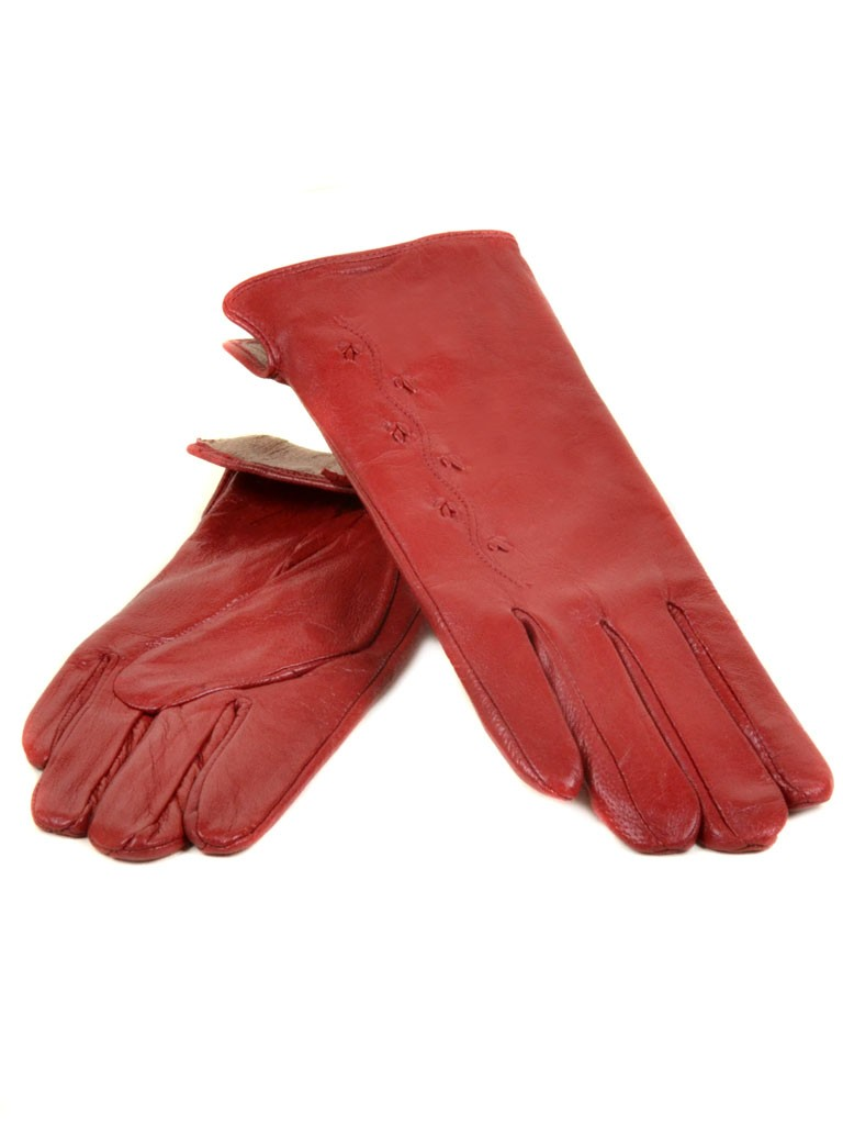 Перчатка Женская кожа МариClassic (Ш) F23 мод6 крас st4