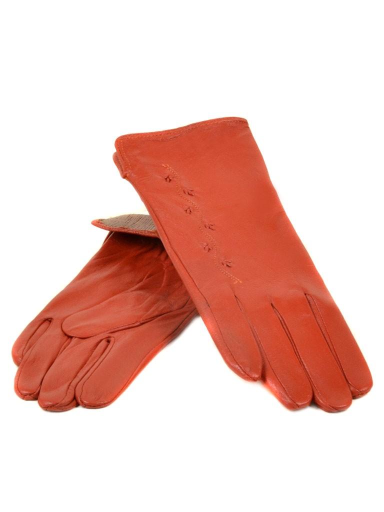 Перчатка Женская кожа МариClassic (Ш) F23 мод6 оранж st2