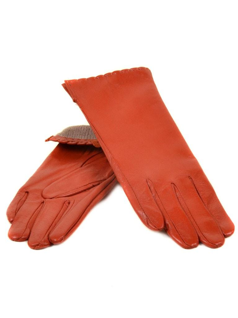 Перчатка Женская кожа МариClassic (Ш) F23 мод7 оранж st2