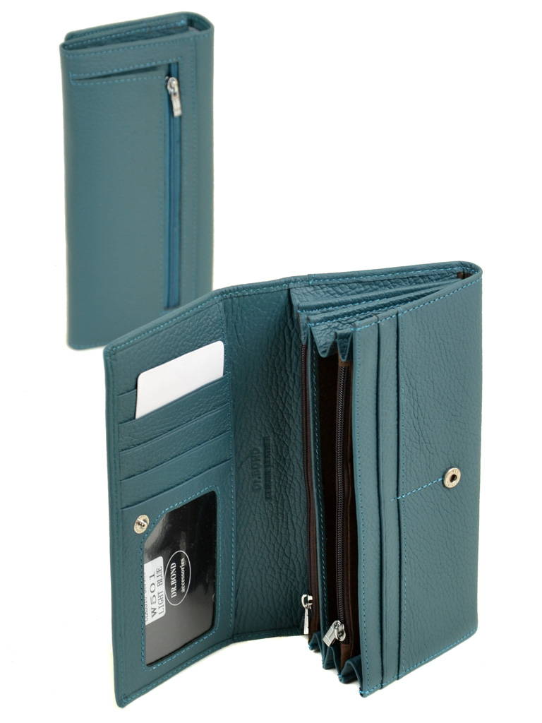 Кошелек Classic кожа DR. BOND W501 light-blue