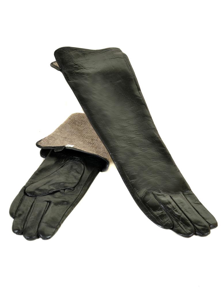 Перчатка Женская кожа F25/17 40см мод1 black шерсть