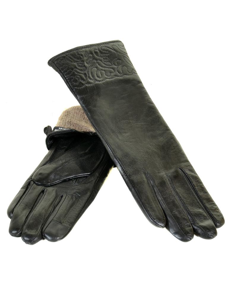 Перчатка Женская кожа F25-17/2 33см мод1 black шерсть