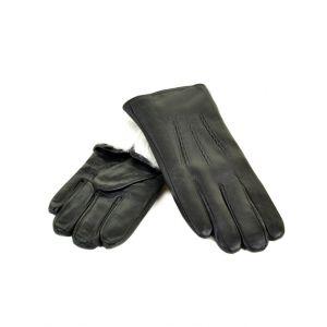 Перчатка Мужская кожа M23-18 мод3 black кролик Распродажа