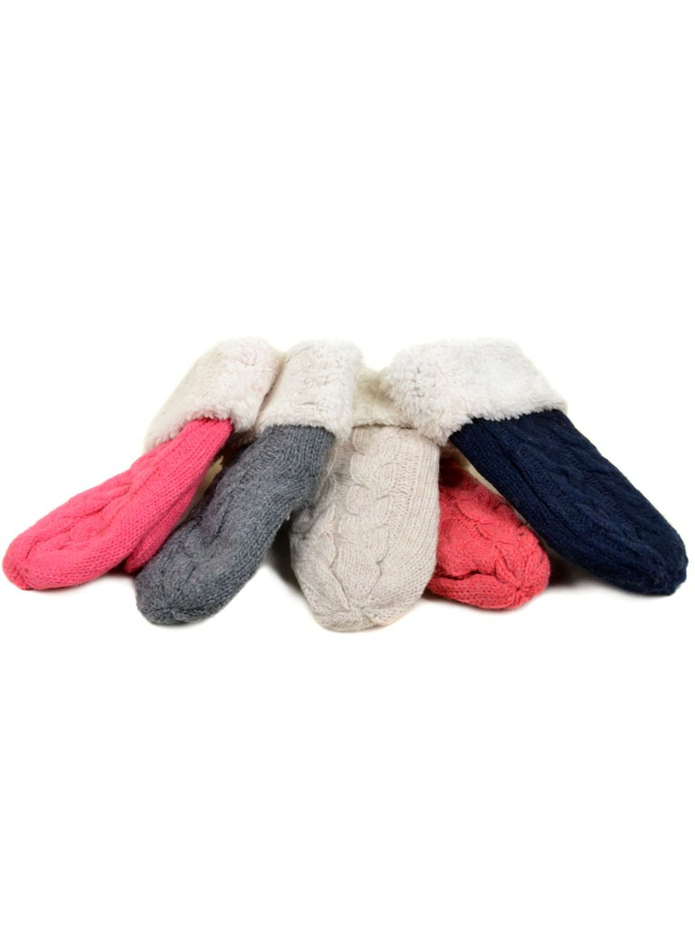 Перчатка Подростковая вязка monlolan V2 Мех Варежка color mix