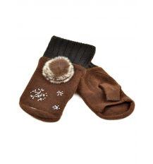 Перчатка Женская вязка FO-3 brown Распродажа
