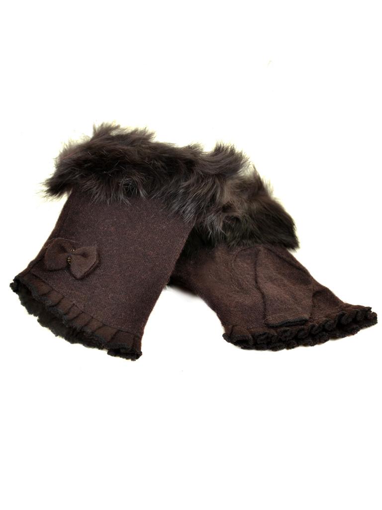 Перчатка Женская кашемир FO-3 dark-brown