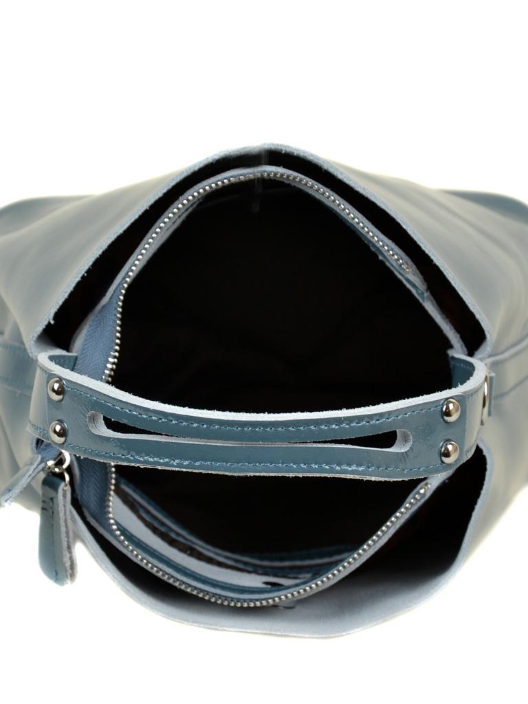 Сумка Женская Классическая кожа-лак 03-3 L8641 l-blue - фото 5