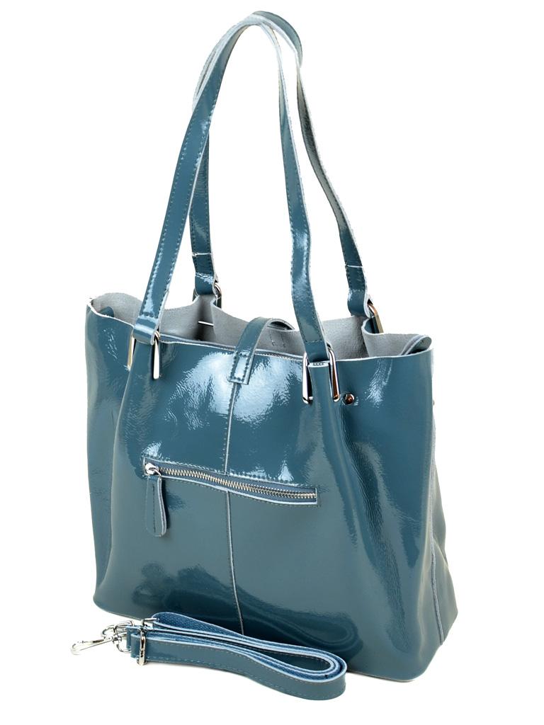 Сумка Женская Классическая кожа-лак 03-3 L317 l-blue