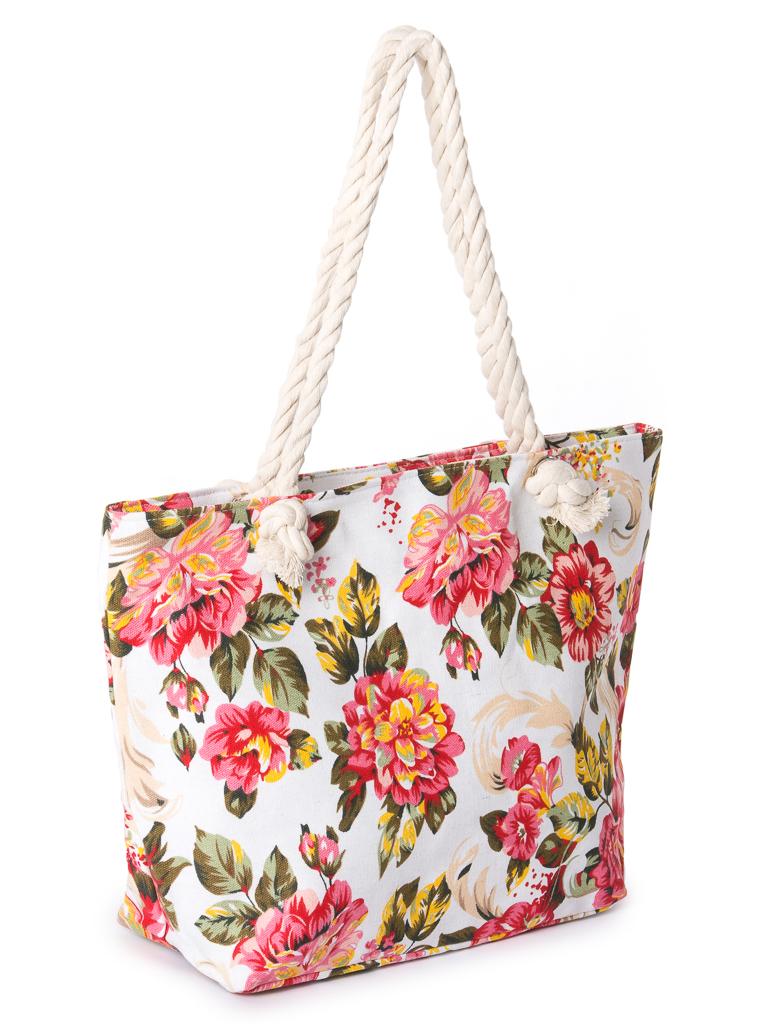 Сумка Женская Пляжная текстиль PODIUM 2019-2 pink цветочек
