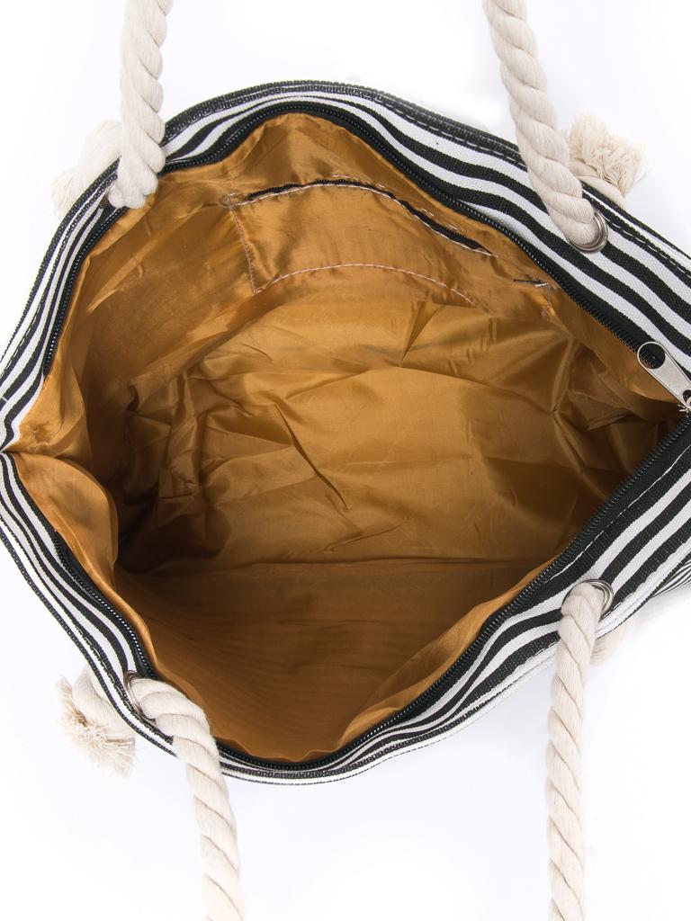 Сумка Женская Пляжная текстиль PODIUM 2019-3 black полоска - фото 3