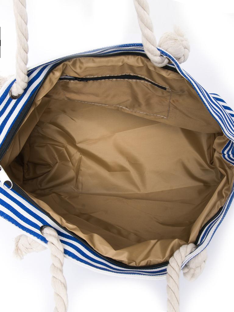 Сумка Женская Пляжная текстиль PODIUM 2019-3 l-blue полоска - фото 3