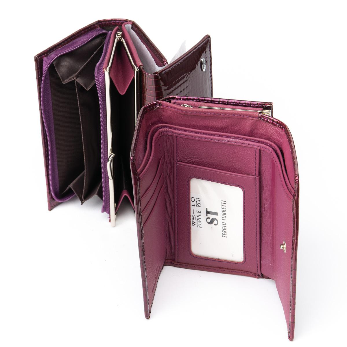 Кошелек LR кожа-лак SERGIO TORRETTI WS-10 purple-red - фото 4