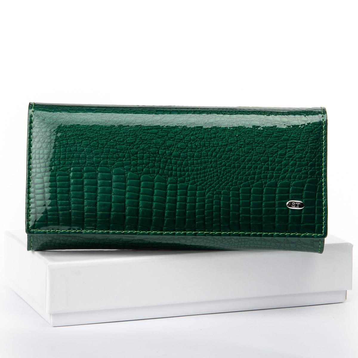 Кошелек LR кожа-лак SERGIO TORRETTI W501 dark-green