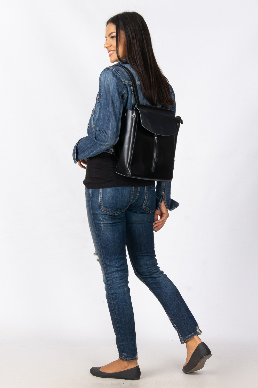 Сумка Женская Рюкзак кожа ALEX RAI 08-2 3206 black - фото 6