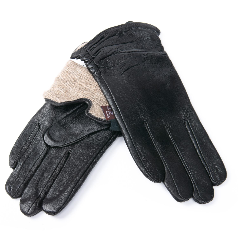 Перчатка Женская кожа F24/19 мод6 black шерсть