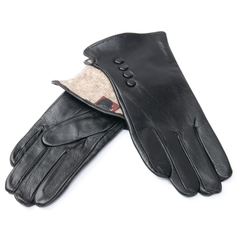 Перчатка Женская кожа F24/19 мод2 black шерсть