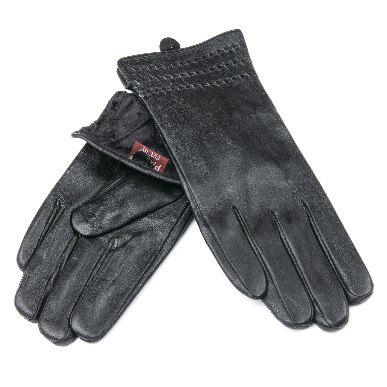 Перчатка Женская кожа F24/19-1 мод7 black флис