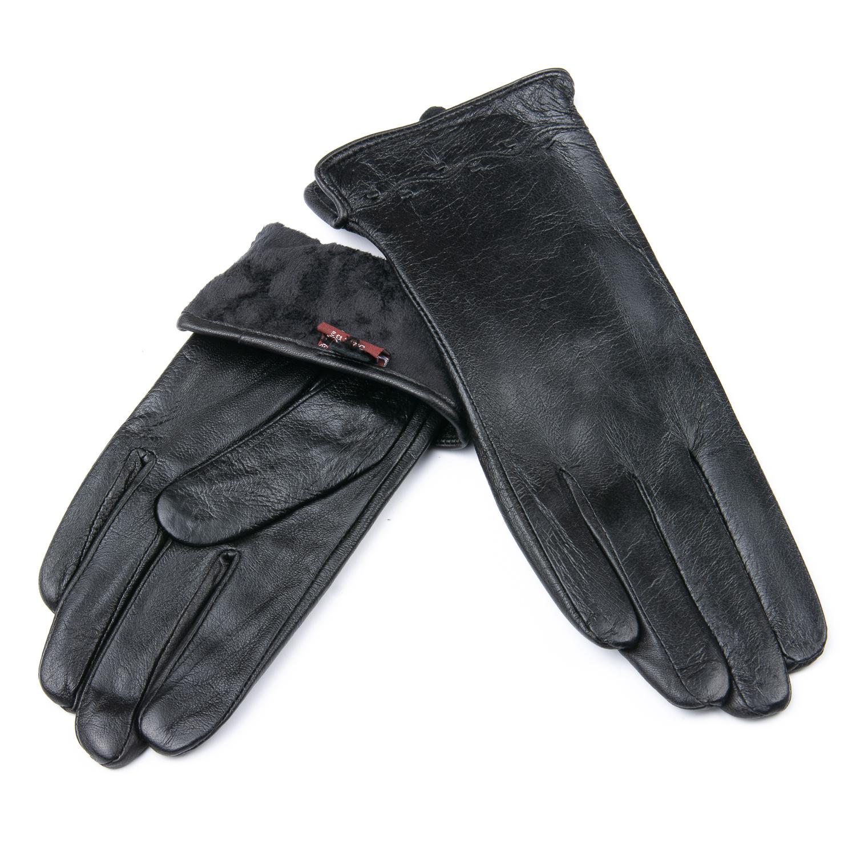 Перчатка Женская кожа F24/19-1 мод5 black флис