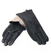 Перчатка Женская кожа F24/19 мод10 black шерсть