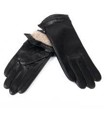 Перчатка Женская кожа F31/19 мод4 black шерсть