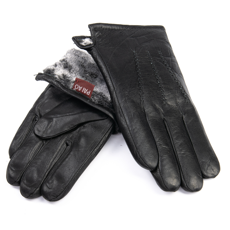 Перчатка Мужская кожа M24/19 мод3 black мех серый