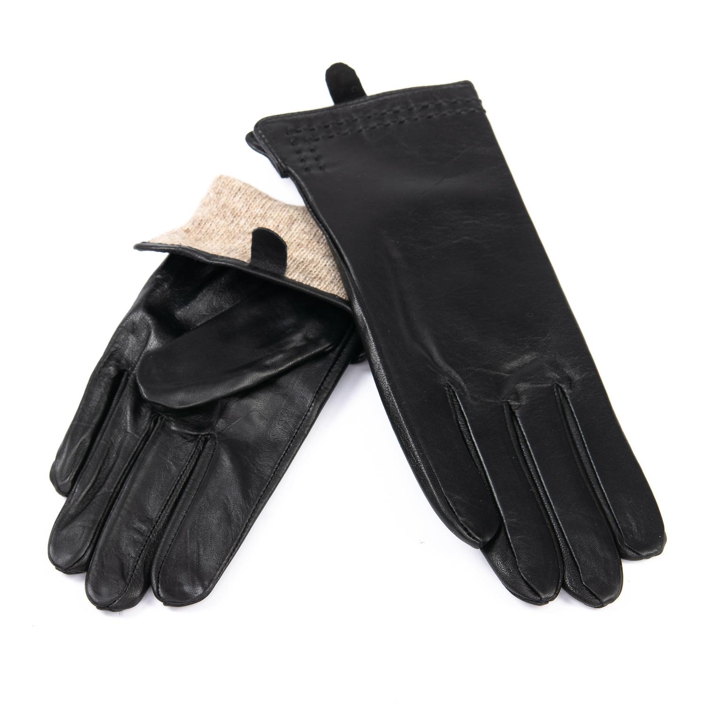 Перчатка Женская кожа F31/19 мод3 black шерсть
