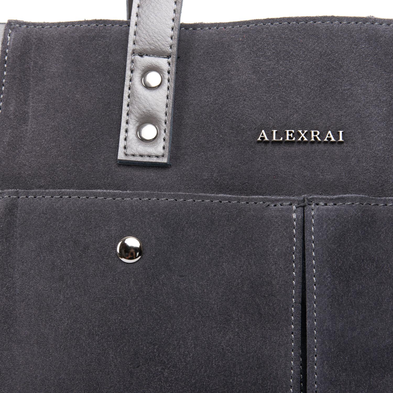 Сумка Женская Классическая замш ALEX RAI 09-1 8713-2 grey - фото 3
