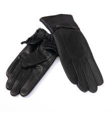 Перчатка Женская кожа-олень F33/19-1 мод3 black Флис