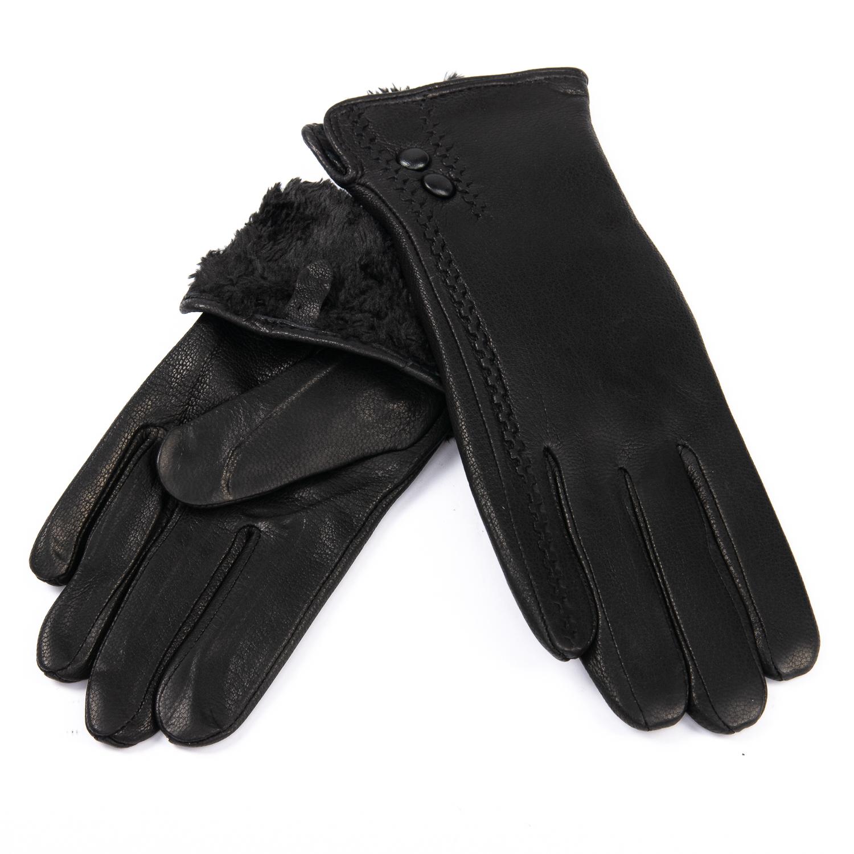 Перчатка Женская кожа-олень F33/19-1 мод6 black Флис
