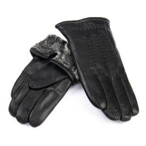 Перчатка Мужская кожа M24/19 мод4 black мех серый