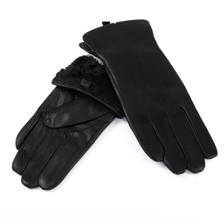 Перчатка Женская кожа-олень F33/19-1 мод5 black Флис