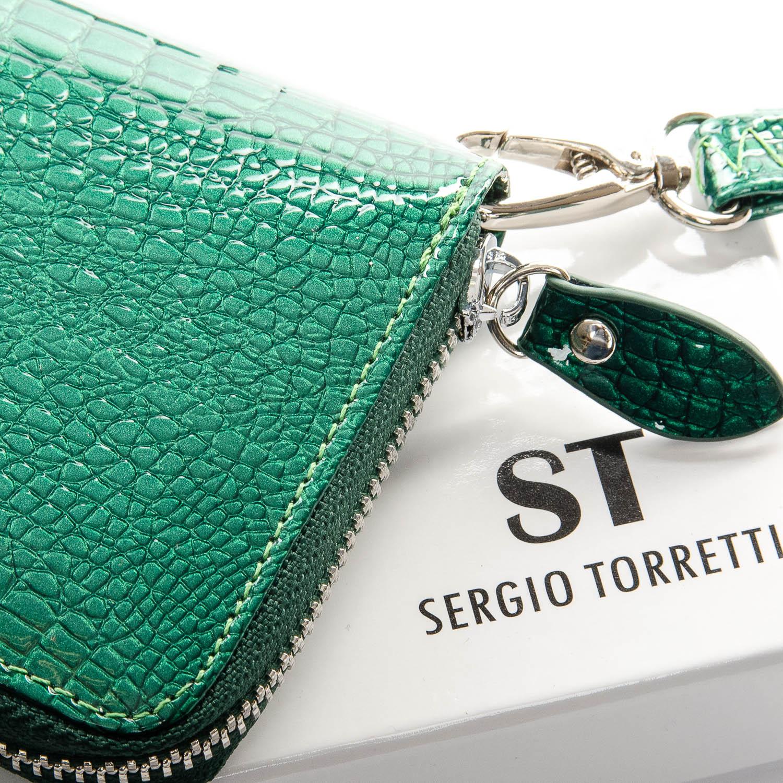 Кошелек LR кожа-лак SERGIO TORRETTI W38 dark-green - фото 3