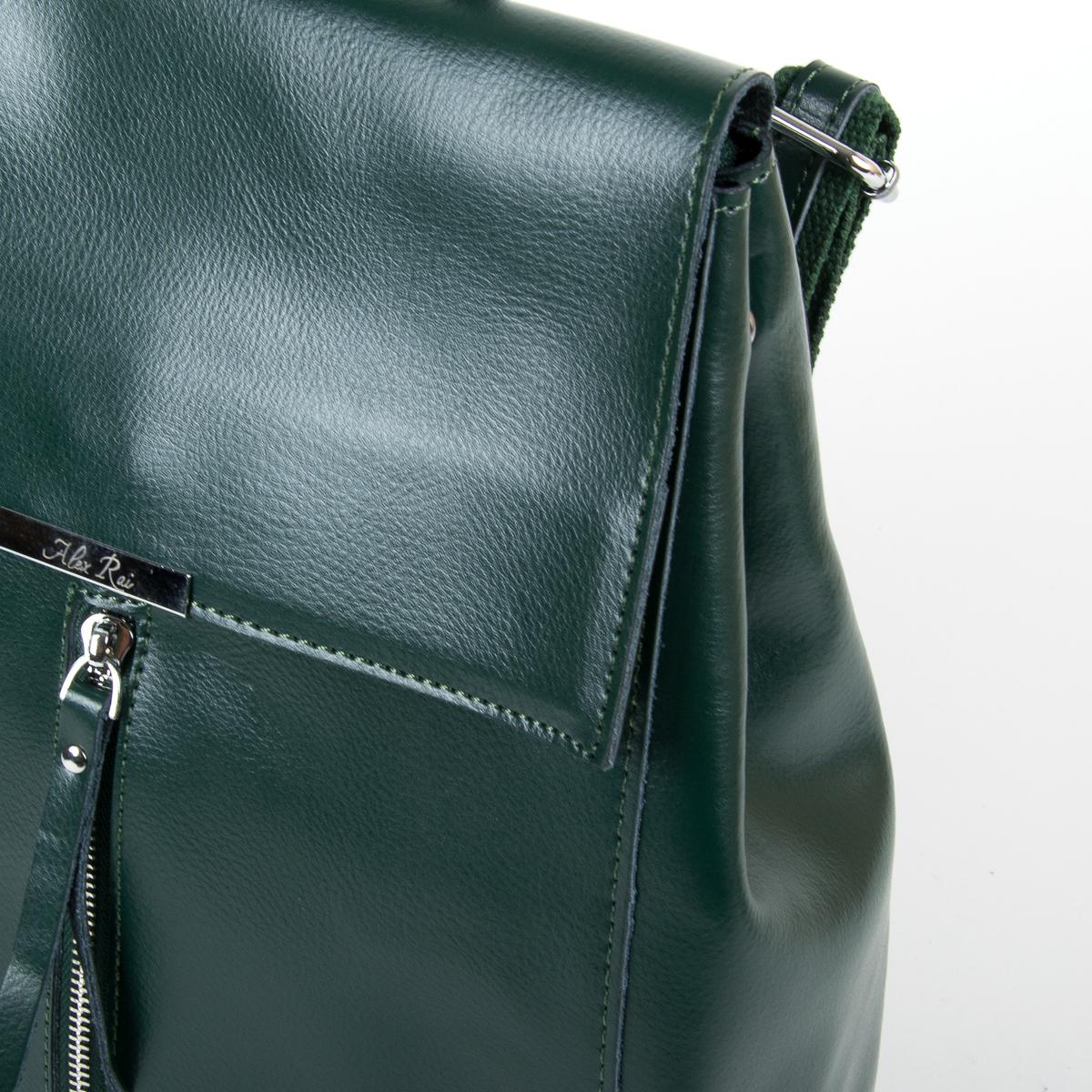 Сумка Женская Рюкзак кожа ALEX RAI 9-01 373 green - фото 3