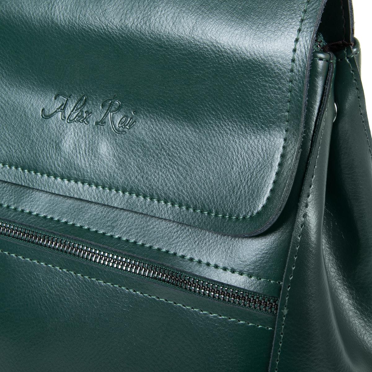 Сумка Женская Рюкзак кожа ALEX RAI 9-01 1005 green - фото 3