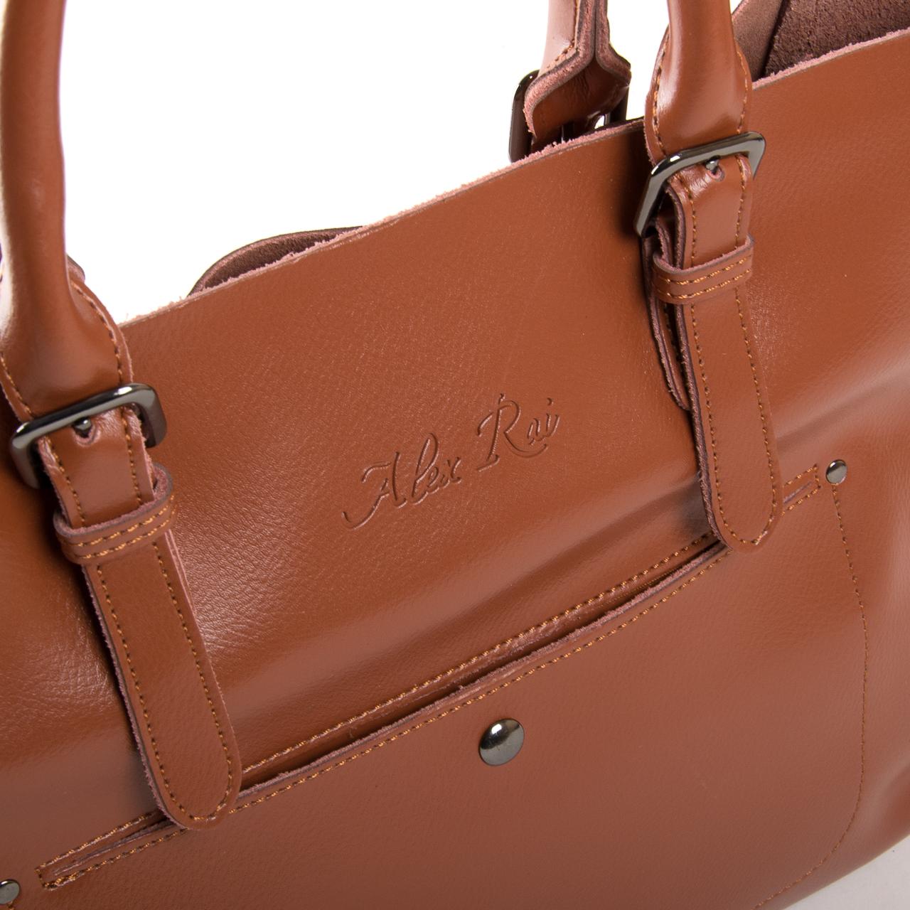 Сумка Женская Классическая кожа ALEX RAI 9-02 8223 yellowish-brown - фото 3
