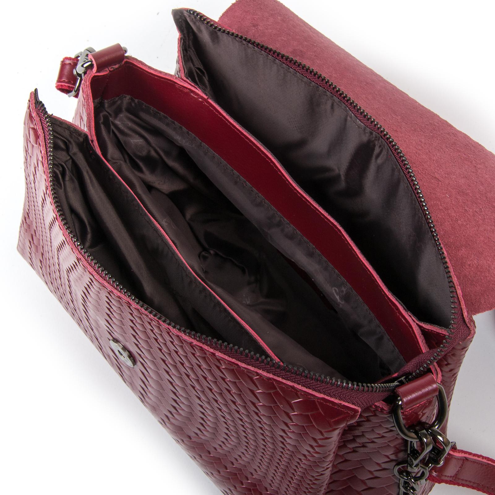 Сумка Женская Классическая кожа ALEX RAI 03-01 J009-1 wine-red - фото 5