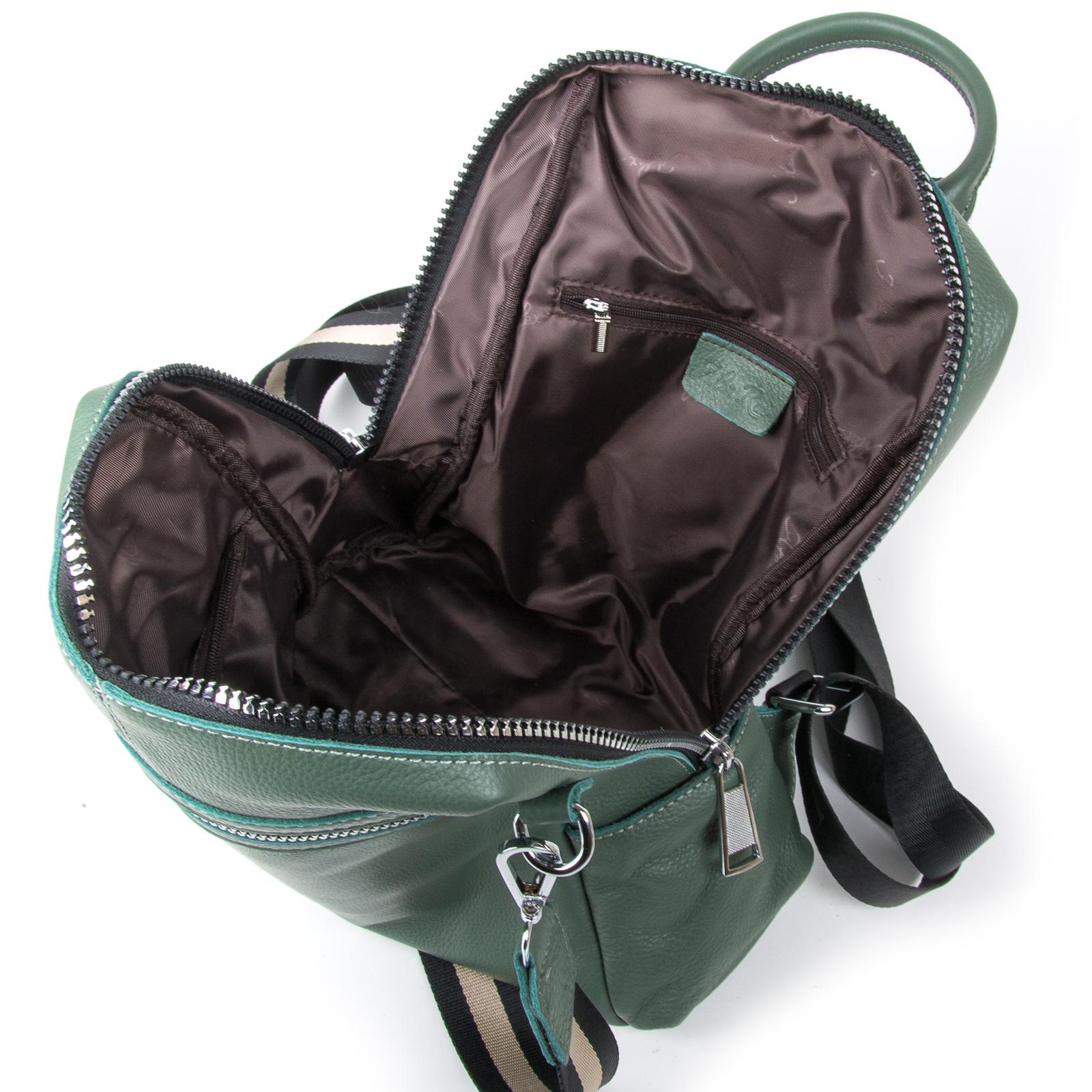 Сумка Женская Рюкзак кожа ALEX RAI 03-01 8781-9 green - фото 5